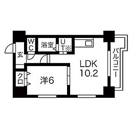 札幌市営南北線 すすきの駅 徒歩7分の賃貸マンション 2階1LDKの間取り