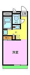 南海高野線 滝谷駅 徒歩17分の賃貸アパート 2階1Kの間取り
