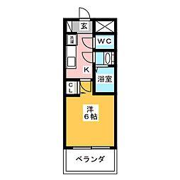 プレサンス名古屋幅下ファビュラス 2階1Kの間取り