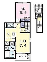JR山陽本線 福山駅 5.2kmの賃貸アパート 2階1LDKの間取り