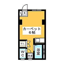 第5黒崎ビル 1階ワンルームの間取り