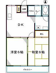 西武国分寺線 恋ヶ窪駅 徒歩3分の賃貸アパート 1階2DKの間取り