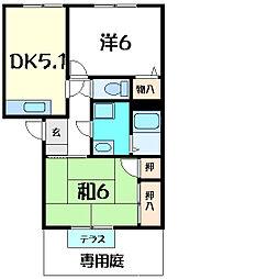 JR山陽本線 明石駅 バス20分 宮下南下車 徒歩5分の賃貸アパート 1階2DKの間取り