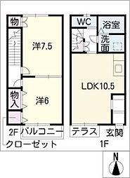[タウンハウス] 愛知県東海市名和町三ツ屋 の賃貸【/】の間取り