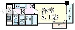 Luxe新大阪SOUTH 6階1Kの間取り