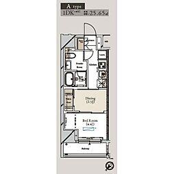 ミュプレ月島(ミュプレツキシマ) 13階1DKの間取り