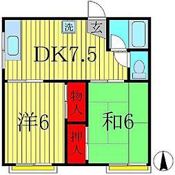 サワーハイツA[2階]の間取り