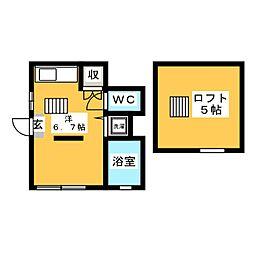 小泉アパ-トNo.7 1階ワンルームの間取り