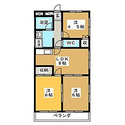 アビタシオン中田[2階]の間取り