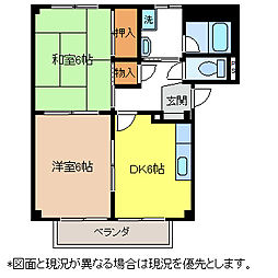 長野県塩尻市大字広丘堅石の賃貸アパートの間取り