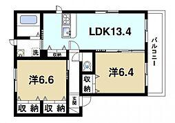 JR桜井線 櫟本駅 徒歩7分の賃貸アパート 3階2LDKの間取り