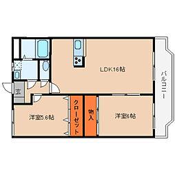 奈良県桜井市東新堂の賃貸マンションの間取り