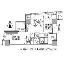 都営大江戸線 汐留駅 徒歩4分の賃貸マンション 14階1LDKの間取り