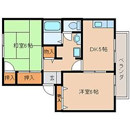 奈良県奈良市押熊町の賃貸アパートの間取り