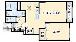 南海線 吉見ノ里駅 徒歩3分の賃貸アパート 1階1LDKの間取り
