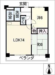 丸美ロイヤル北浜田 302号室[3階]の間取り