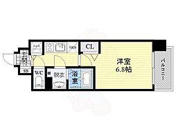 レオンコンフォート都島 4階1Kの間取り