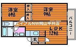 JR山陽本線 西川原駅 徒歩3分の賃貸アパート 2階2LDKの間取り