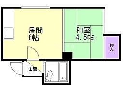 パレスサンホーム 2階1DKの間取り