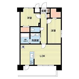 熊本電気鉄道 北熊本駅 徒歩5分の賃貸マンション 5階2LDKの間取り