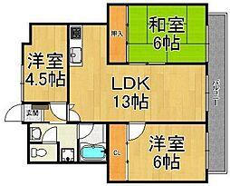 エクセル熊野1[3階]の間取り
