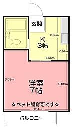 神奈川県秦野市下大槻の賃貸アパートの間取り
