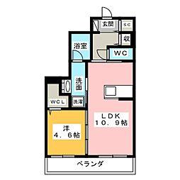 仮称)ベレオ豊田元城町 2階1LDKの間取り