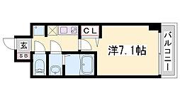 レジデンス神戸大倉山グルーブ 2階1Kの間取り