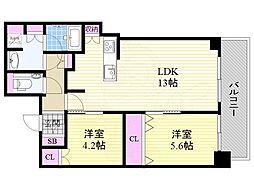 ブランズタワー梅田NORTH 42階2LDKの間取り