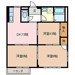 シルクハウスA[2階]の間取り