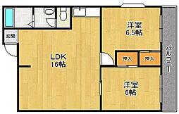 シャトレ塚口[3階]の間取り