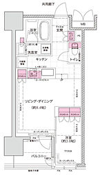Osaka Metro千日前線 西長堀駅 徒歩1分の賃貸マンション 6階1LDKの間取り