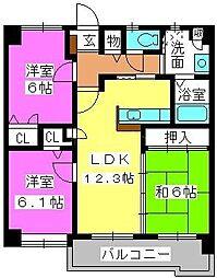 マノワール箱崎[8階]の間取り