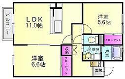 福岡県春日市上白水10丁目の賃貸アパートの間取り