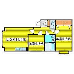 札幌市営東豊線 環状通東駅 徒歩20分の賃貸マンション 2階2LDKの間取り