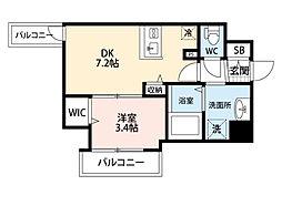JR東海道・山陽本線 東淀川駅 徒歩2分の賃貸マンション 5階1DKの間取り