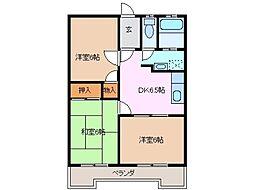 三重県鈴鹿市西条6丁目の賃貸アパートの間取り