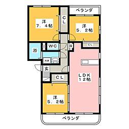 パステル大井手II[3階]の間取り