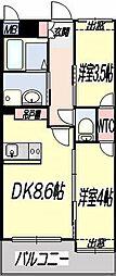 熊本市電A系統 健軍町駅 徒歩19分の賃貸マンション 1階2DKの間取り