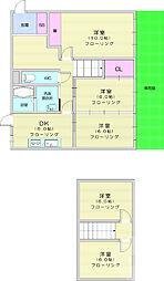 日本平貸家 1階5DKの間取り