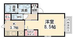 兵庫県川西市加茂3丁目の賃貸アパートの間取り