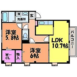 愛媛県松山市北斎院町の賃貸マンションの間取り