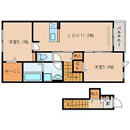 近鉄京都線 新祝園駅 徒歩31分の賃貸アパート 2階2LDKの間取り