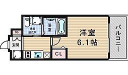エステムコート難波WEST-SIDEIIIドームシティ[3階]の間取り