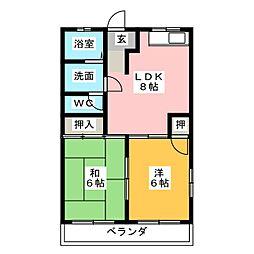 第2ボナール早川[1階]の間取り