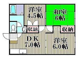 岡山県岡山市中区清水丁目なしの賃貸アパートの間取り