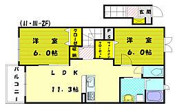メゾンドフローラ1[2階]の間取り