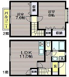 [テラスハウス] 東京都世田谷区上祖師谷4 の賃貸【/】の間取り