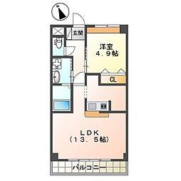 大塚新築アパート(仮) 1階1LDKの間取り
