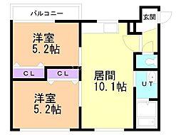 ビッグバーンズマンション八軒III 4階2LDKの間取り